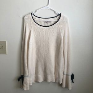 LOFT Cotton Tipped Tie Cuff Sweater